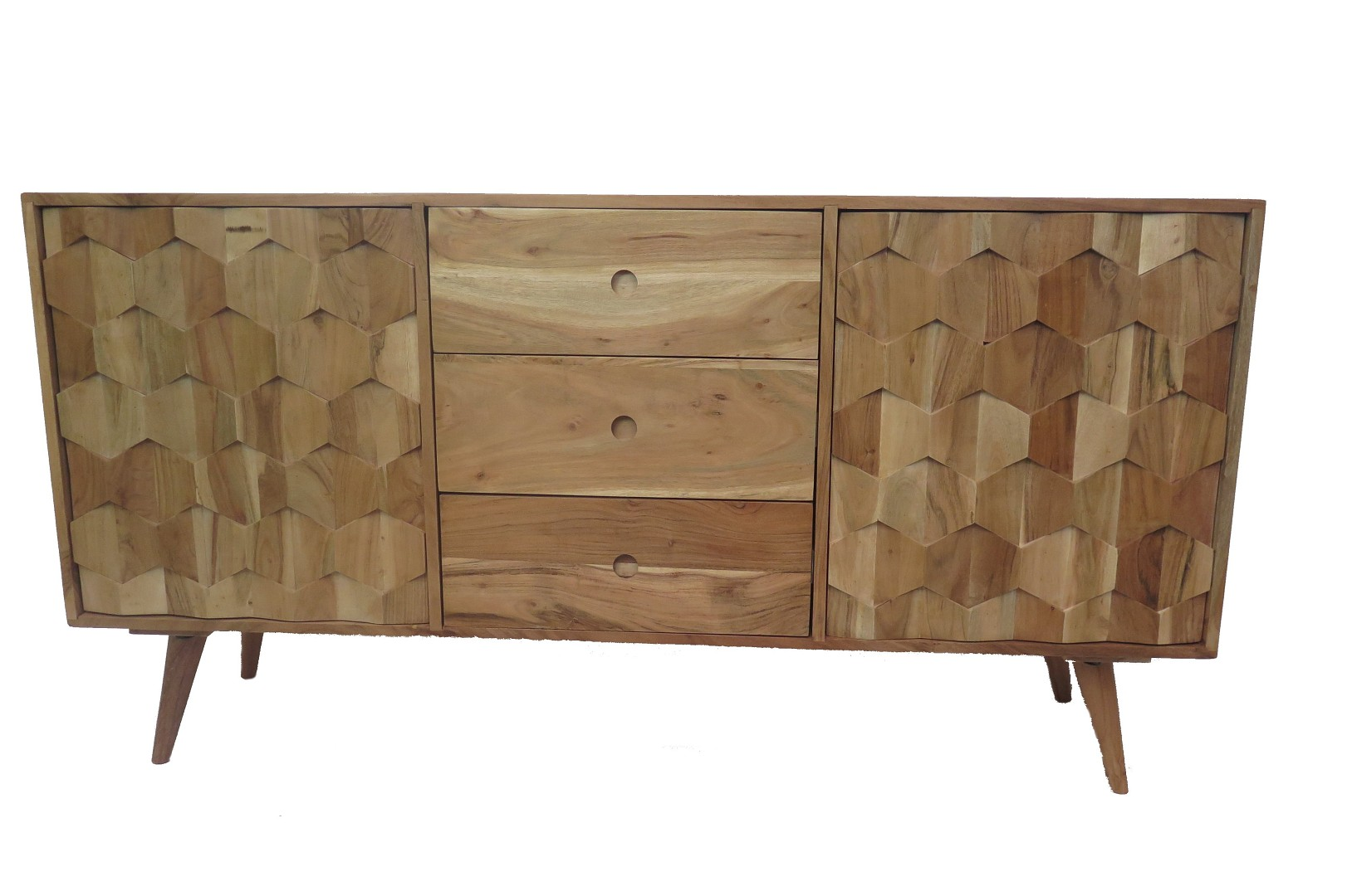 sideboard retro design massivholz kommode honeycomb akazie. Black Bedroom Furniture Sets. Home Design Ideas