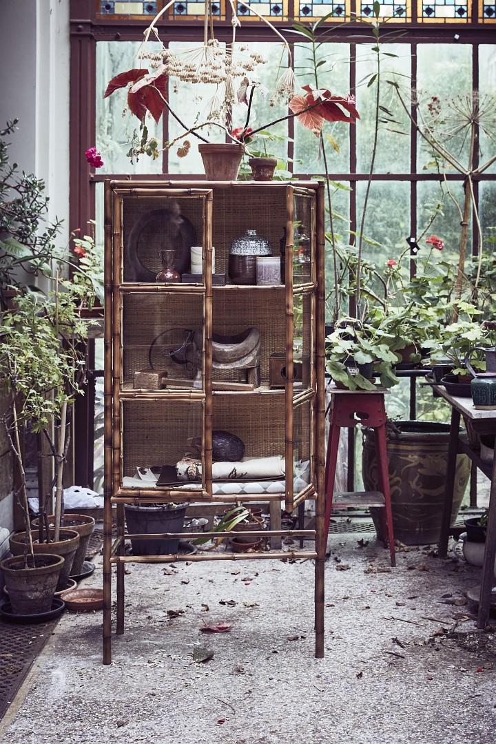 Vitrine kommode bambus natur mahagoni old asian style for Asia wohnen