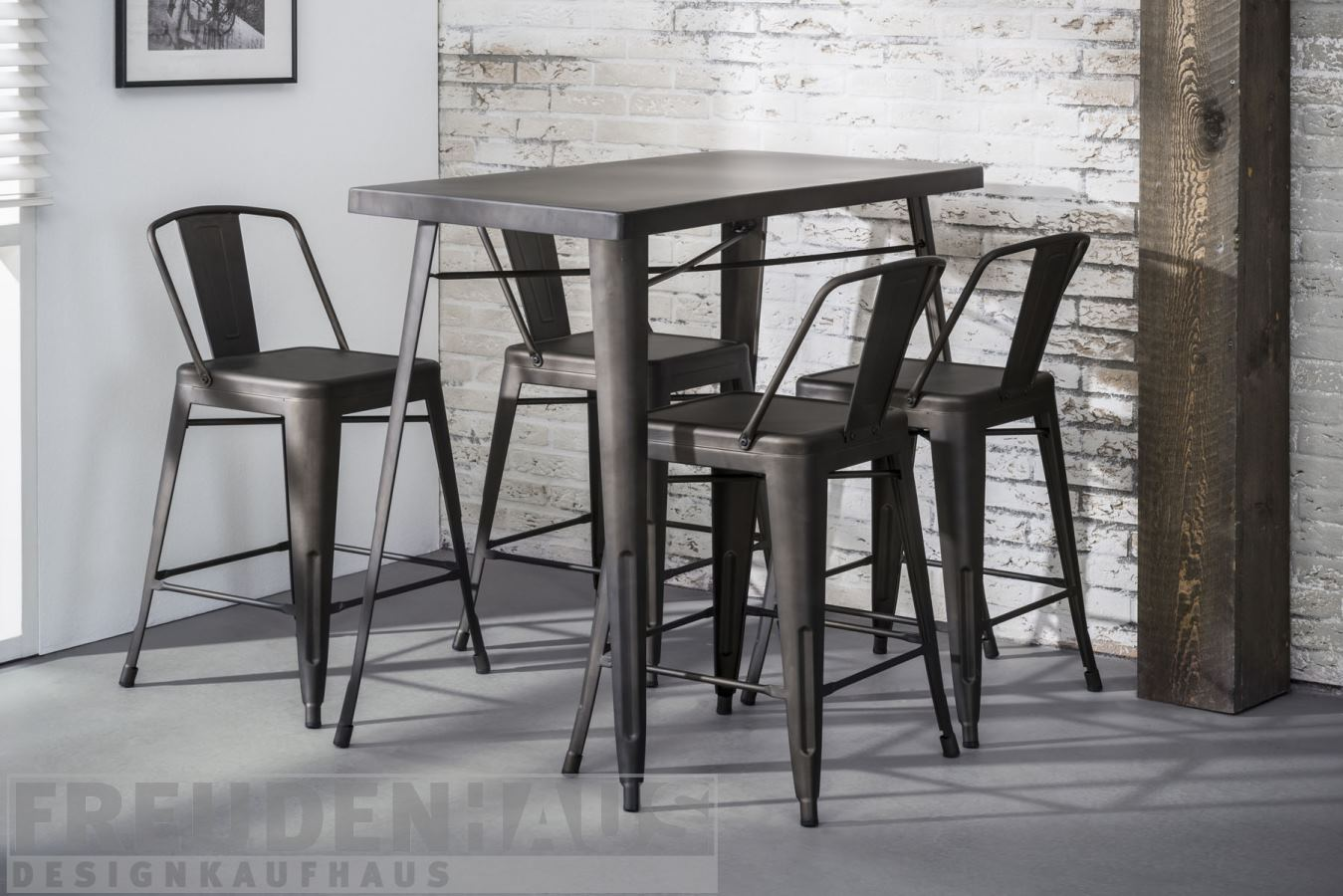 stehtisch bartisch set bistro metall industrial 120 x 60 4 barhocker m bel essen. Black Bedroom Furniture Sets. Home Design Ideas