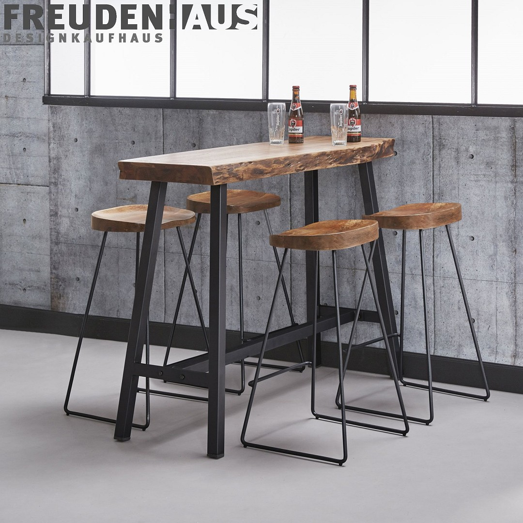 stehtisch bartisch wood akazie baumkante industrial 125 x. Black Bedroom Furniture Sets. Home Design Ideas