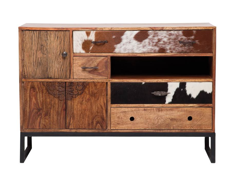 kare sideboard rodeo massivholz fell intarsien 3 4 m bel wohnen sideboards freudenhaus. Black Bedroom Furniture Sets. Home Design Ideas