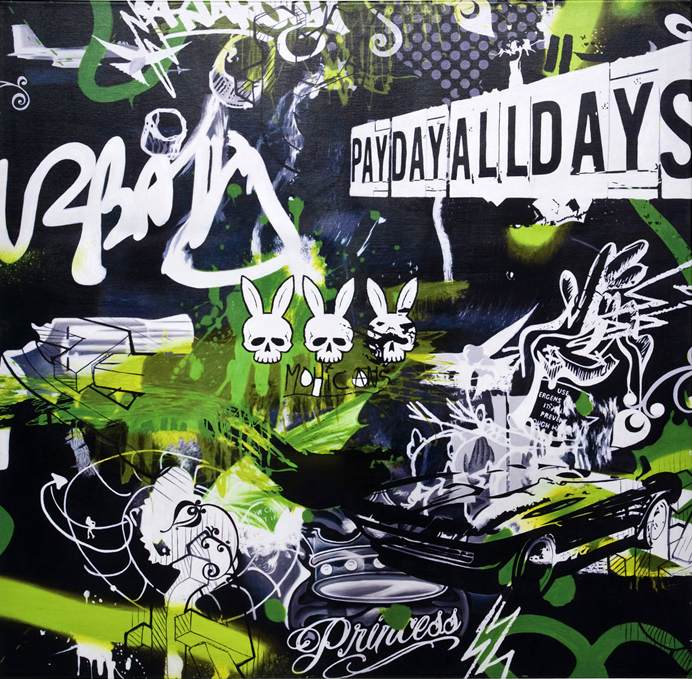 Kare manga bild graffiti pay day 100x100cm accessoires for Kare lagerverkauf