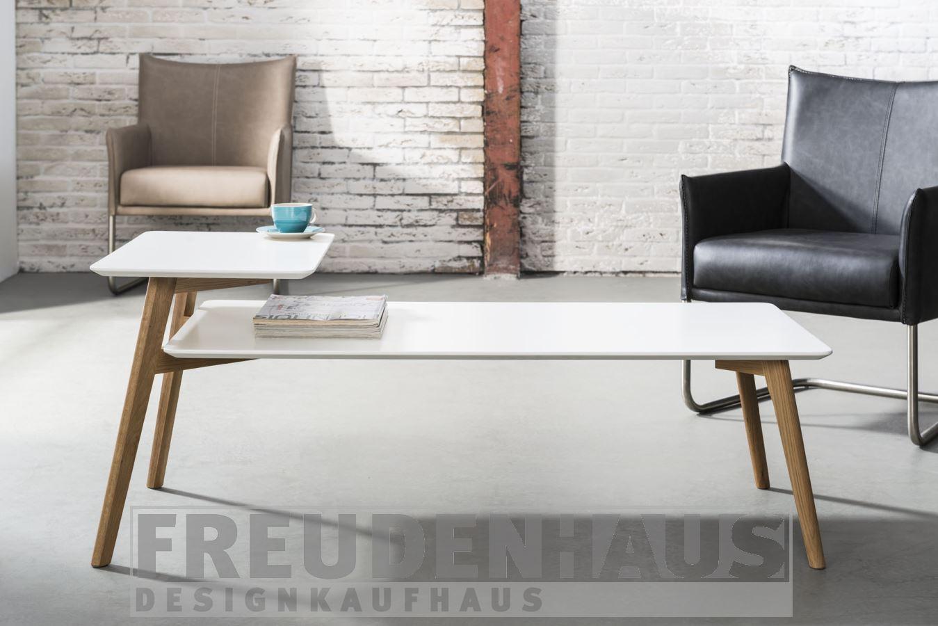 Couchtisch scandinavia retro 130 x 60 weiß doppelte ablage – möbel ...