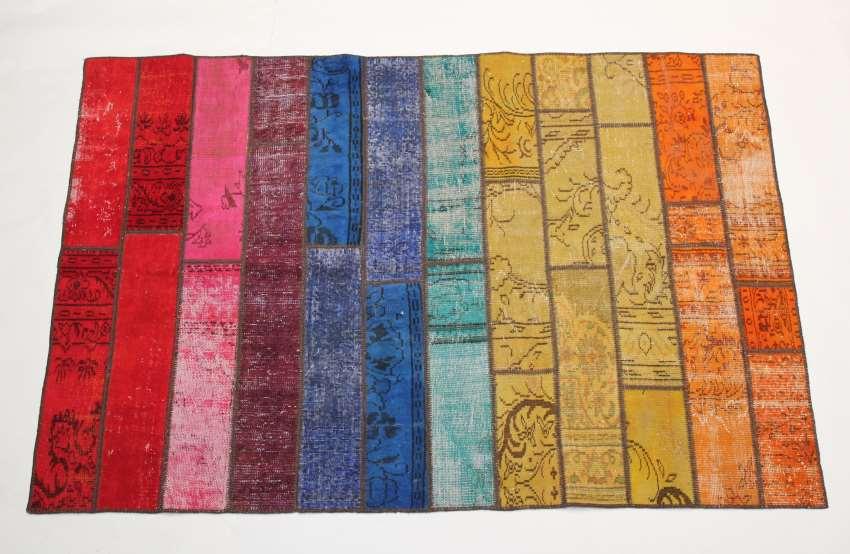 Teppich Wolle Patchwork Kelim Vintage Stripes Multicolou