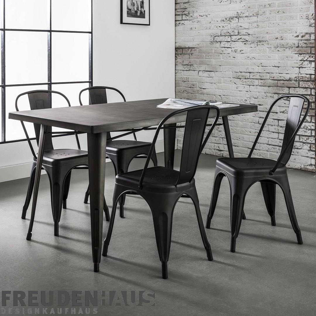 esstisch metalltisch bistro industrial 140 x 80 m bel essen esstische freudenhaus. Black Bedroom Furniture Sets. Home Design Ideas