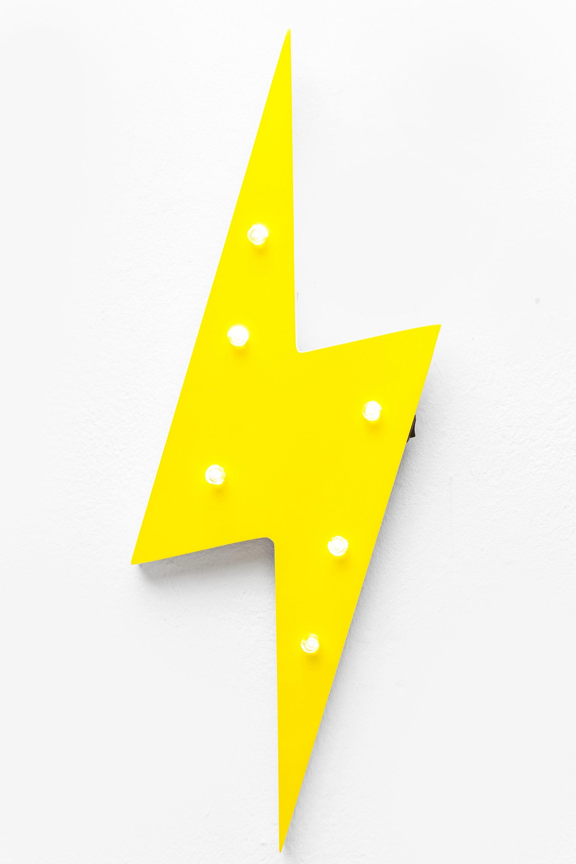 Leuchtobjekt Flash Blitz Retro Gelb Wandlampe Kare